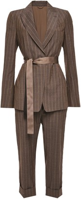 Brunello Cucinelli Bead-embellished Pinstriped Wool Suit