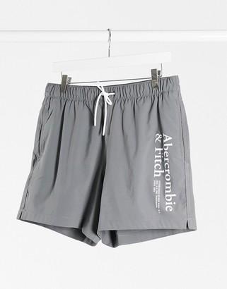 Abercrombie & Fitch 5 inch logo swim shorts in grey