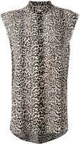 Saint Laurent leopard print sleeveless shirt - women - Silk - 36