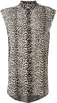 Saint Laurent leopard print sleeveless shirt - women - Silk - 40