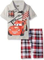 Disney Little Boys 2 Piece Cars Lightening McQueen Polo Shirt with Plaid Short