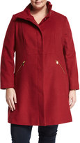 T Tahari Stand-Collar Wool-Blend Jacket, Via Red, Plus Size