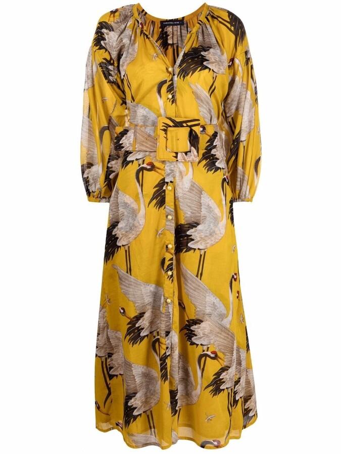 Thumbnail for your product : Samantha Sung Nina crane-print dress