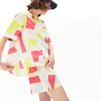 Lacoste Women's Abstract-Print Cotton Blend Blouse