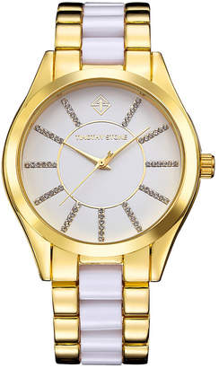 Timothy Stone Women 'Charme' Crystal Accented Two Tone Boyfriend Bracelet Watch