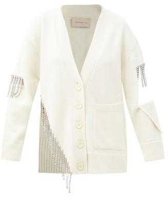 Christopher Kane Crystal-fringing Cutout Wool Cardigan - White