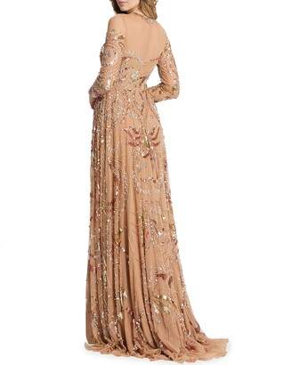 Mac Duggal Long-Sleeve Beaded A-Line Gown