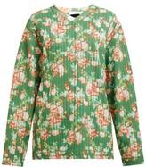 Craig Green Floral-print V-neck Striped-jacquard Sweatshirt - Womens - Green Multi
