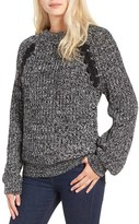 J.o.a. Women's Chunky Lace-Up Detail Sweater