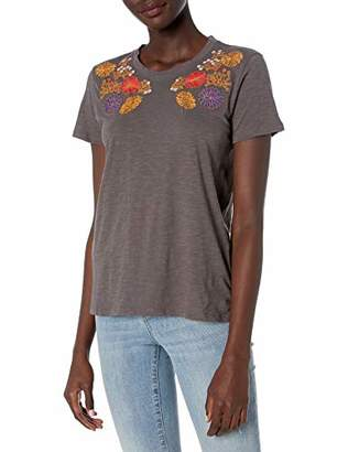 Lucky Brand Women's Floral Embroidered Chest Tee