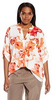 Calvin Klein Women's Plus-Size Printed Roll-Sleeve Top