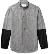 Public School - Grandad-collar Poplin-trimmed Micro-checked Linen-blend Shirt