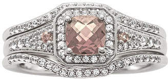 Modern Bride 1 1/4 CT. T.W. Diamond and Genuine Pink Morganite Sterling Silver Bridal Ring No Color Family