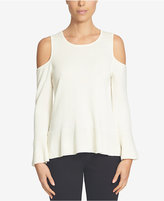 CeCe Cold-Shoulder Peplum Sweater