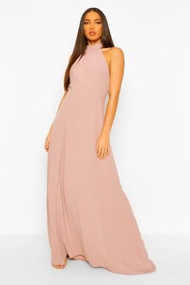 boohoo Tall Woven Halterneck Lace Detail Maxi Dress