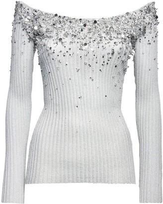 Valentino Embellished Lurex Rib Knit Top