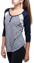 Point Zero Striped 3/4 Sleeve Raglan with Lace Detail
