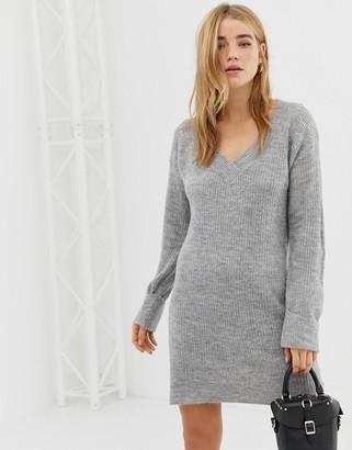 Brave Soul leonard sweater dress in gray