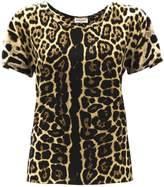 Saint Laurent Black Silk Leopard T-shirt