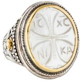 Konstantino Two-Tone Carved Mother of Pearl Athena Cocktail Ring