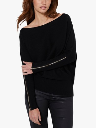 Mint Velvet Batwing Zip Jumper, Black