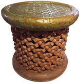 One Kings Lane Vintage African Bamileke Spider Stool/Table - brown gold
