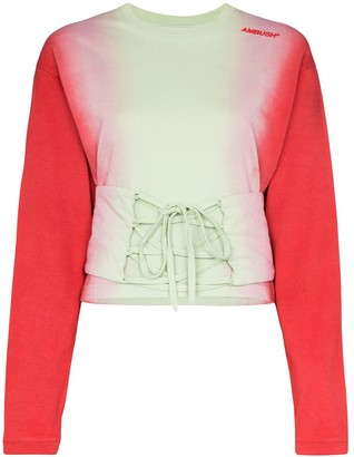 Ambush corset waist tie-dye T-shirt