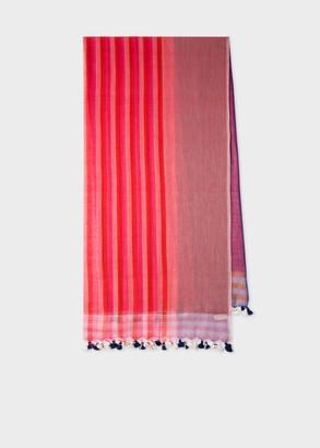 Women's Pink Stripe And Pompom Cotton Scarf