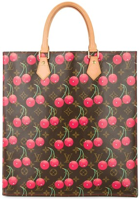 Louis Vuitton Sac Plat Hand Tote Bag Monogram Cherry Canvas Leather