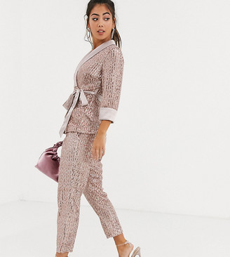 Little Mistress Petite tailored sequin pants in rose gold two