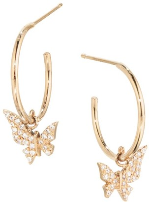 14K Yellow Gold & Diamond Hanging Butterfly Huggie Hoops