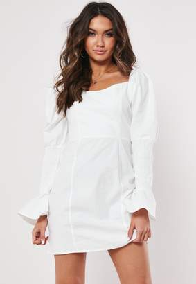 Missguided Petite White Cotton Milkmaid Dress