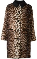 Moschino leopard print coat - women - Polyamide/Polyester/Rayon/Wool - 42