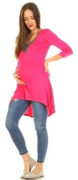 White Mark Maternity Calla Embellished Tunic Top