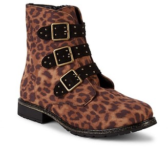 Mia Girl's Brandee Cheetah-Print Ankle Boots