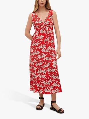 MANGO Floral Print Cut Out Detail Midi Dress, Cherry/Multi
