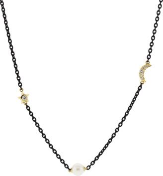 Monica Rich Kosann Pearl Sun Moon Star Wrap Necklace