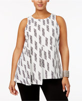 Alfani Plus Size Asymmetrical Draped Top, Only at Macy's