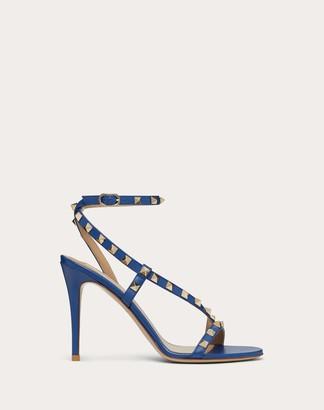 Valentino Rockstud Calfskin Sandal 100 Mm Women Blue 100% Pelle Di Vitello - Bos Taurus 35