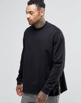 Asos Oversized Sweatshirt With Side Zips In Black