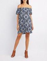 Charlotte Russe Floral Print Off-The-Shoulder Shift Dress