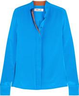 Diane von Furstenberg Silk Crepe De Chine Shirt - Blue