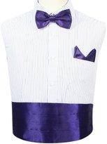 Jaifei Men ́s Cummerbund Set- Deluxe Satin Bow Tie+ Handkerchief+ Cummerbund For Prom, Wedding, Graduation