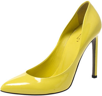 Gucci Yellow Patent Leather Pointed Toe Pumps Size 39.5