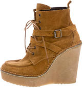 Pierre Hardy Suede Wedge Ankle Boots