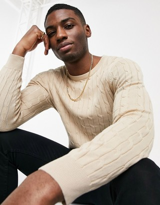 Gianni Feraud premium muscle fit crew neck cable knitted sweater