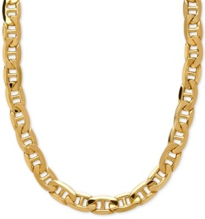 """Italian Gold 22"""" Beveled Marine Link Chain Necklace (7-1/5mm) in 10k Gold"""