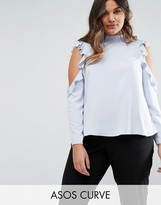 Asos Satin Top With High Neck & Ruffle Cold Shoulder