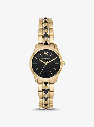 Michael Kors Petite Runway Mercer Pave Gold-Tone And Onyx Watch