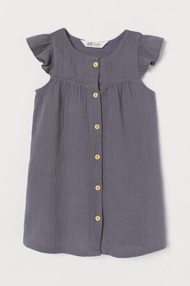 H&M Flutter-sleeved Cotton Dress